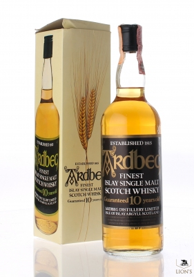 Ardbeg 10 years old clear glass black label