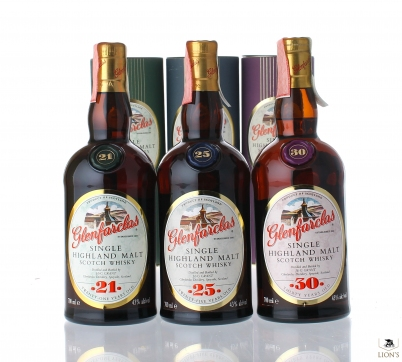 Glenfarclas x3  21 25 30 years old