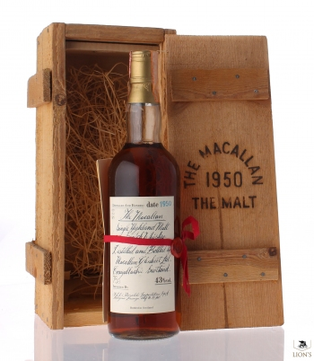 Macallan 1950 red ribbon woodbox