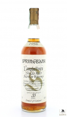 Springbank 1958 33 Years Old